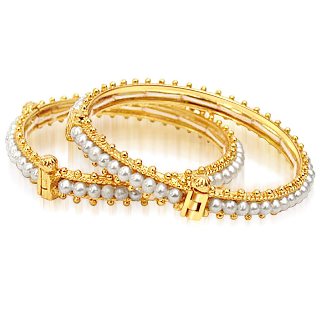 Bed of Roses - Real Freshwater Pearl & Gold Plated Bangles with Screw for Women (BGP6)