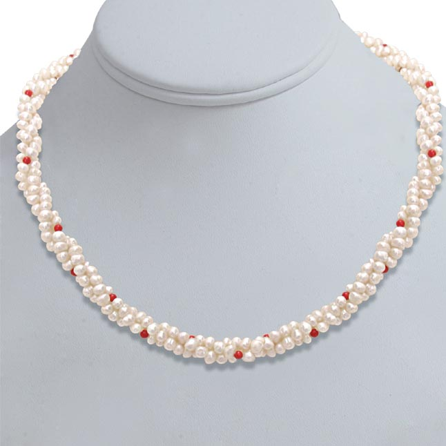 0310d657a6fa2 Twisted Rice Pearl Necklaces, Buy Pearl Jewellery Online at Best ...