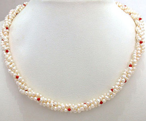 Coral Bead Beauty -Twisted Rice Pearl