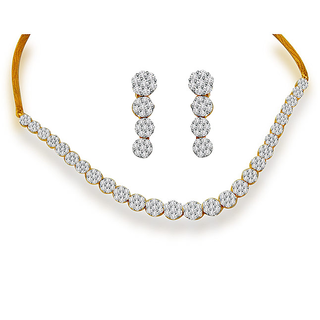 Diamond Necklace Set - Accds1-diamond-jewellery-set