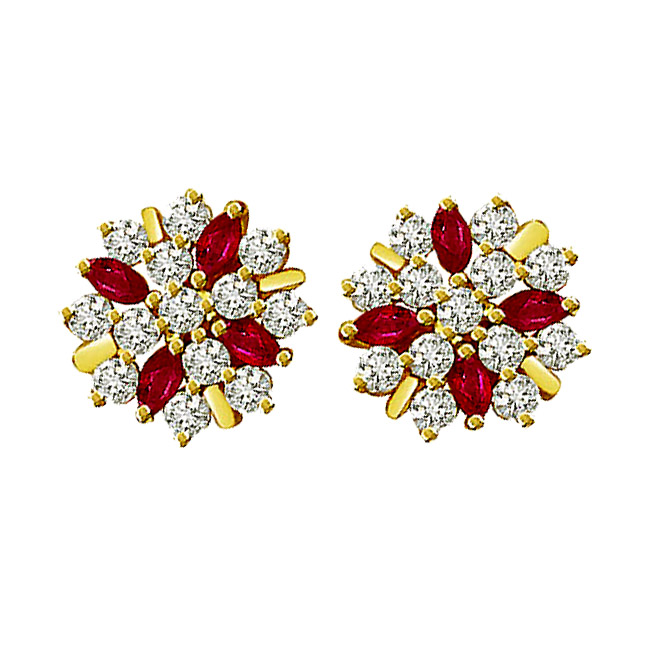 0.80 cts Diamond Ruby Earrings -Flower Shape Earrings
