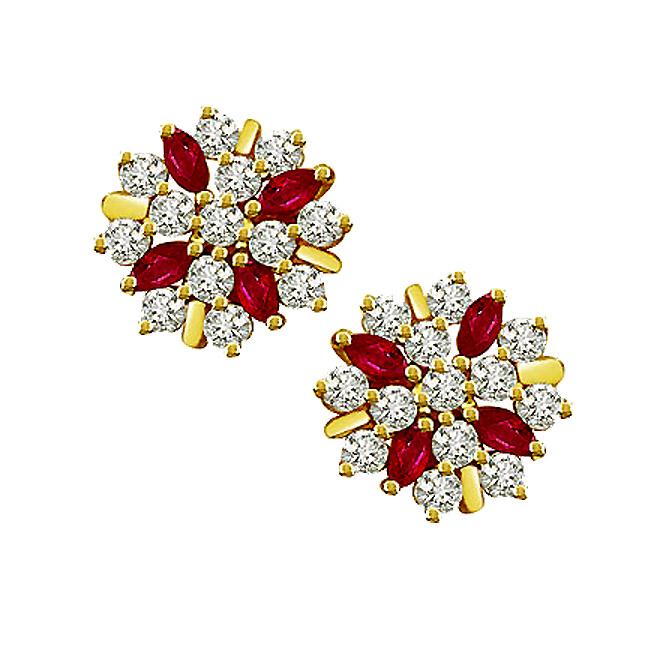 0.80 cts Diamond Ruby Earrings -Flower Shape Earrings
