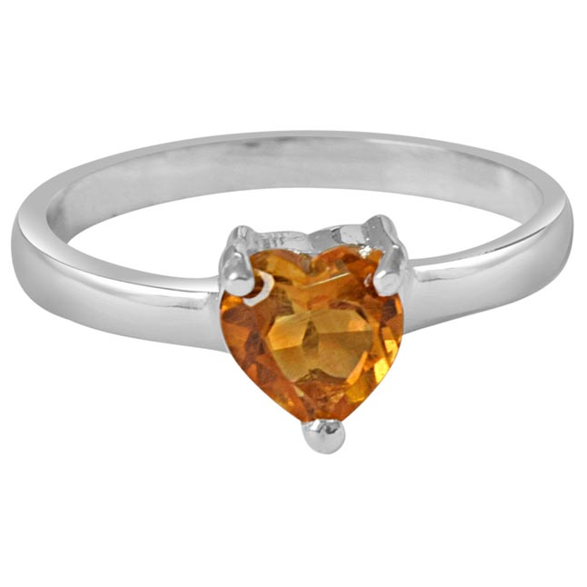 70 cents Heart Shaped Golden Topaz Solitaire Sterling 925 Silver Ring (GSR52)