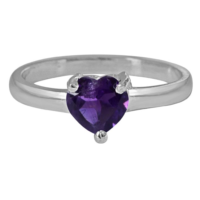 70 cents Heart Purple Solitaire Amethyst Sterling 925 Silver Ring (GSR53)