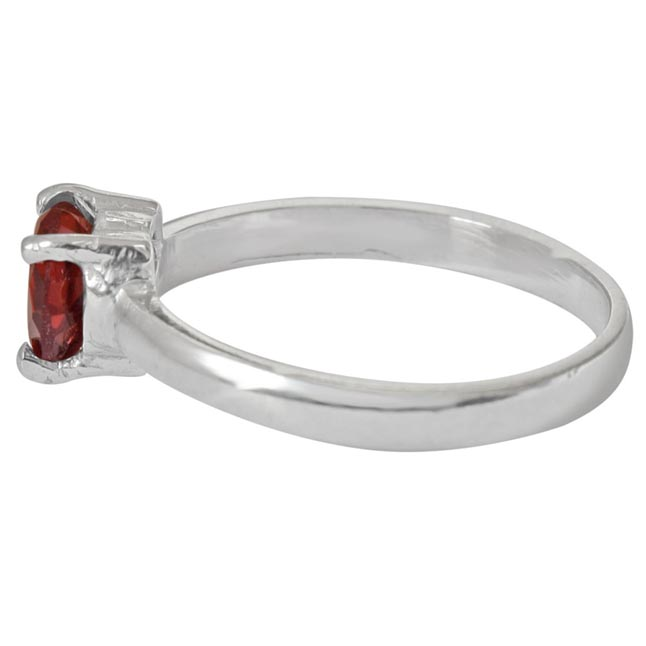 1.00 cts Heart Red Solitaire Garnet 925 Silver Ring (GSR55)