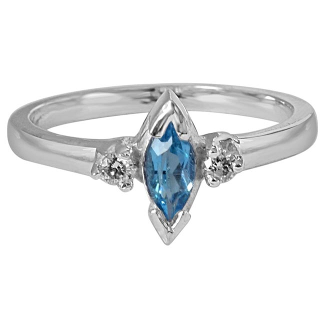 Marquise Shaped Blue Solitaire Topaz & Real Diamond 925 Sterling Silver Ring