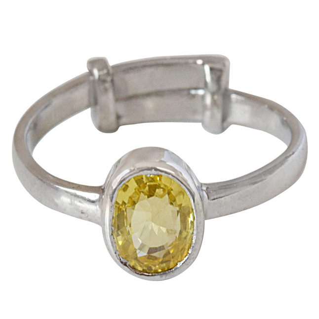 1.23cts Oval Yellow Sapphire and 925 Silver Adjustable Ring for Women (GSR61)
