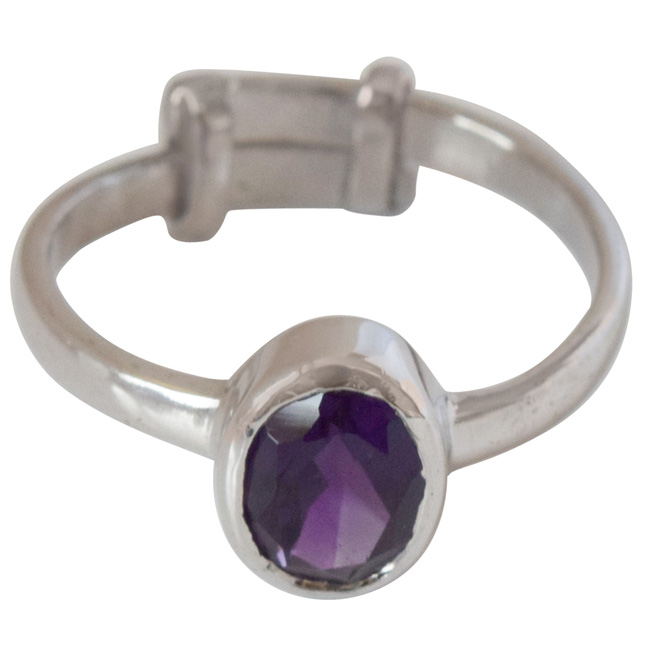 1.07cts Oval Faceted Purple Amethyst and 925 Silver Astrological Ring (GSR62)