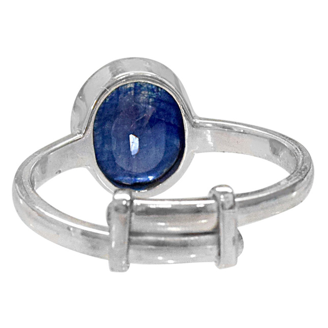 5.69cts Oval Blue Sapphire and 925 Silver Adjustable Ring (GSR63)