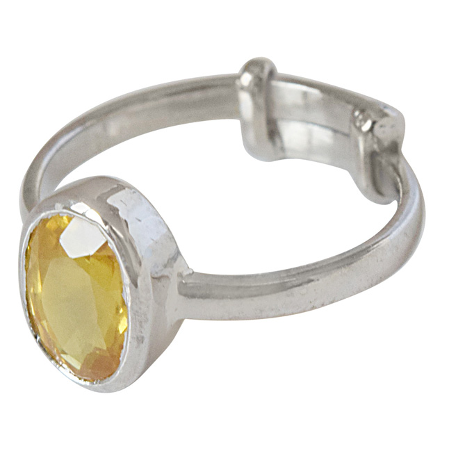 2.72cts Oval Yellow Pokhraj and 925 Silver Adjustable Ring for Women (GSR64)