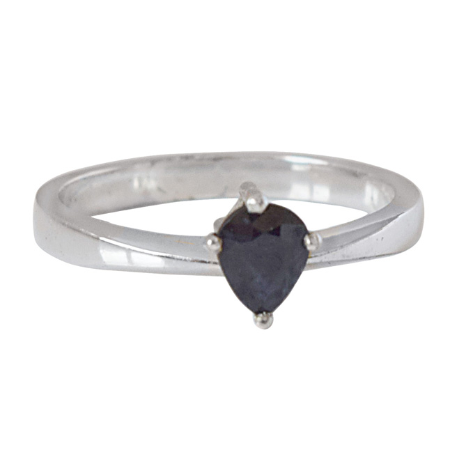 0.52cts Pear Shaped Blue Sapphire and 925 Silver Ring (GSR66)