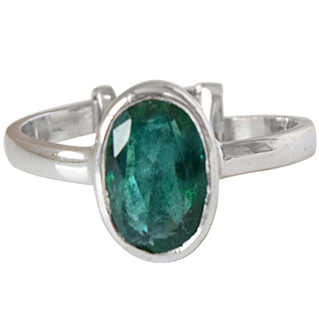2.14cts AA Grade Green Oval Emerald and 925 Silver Adjustable Ring (GSR68)