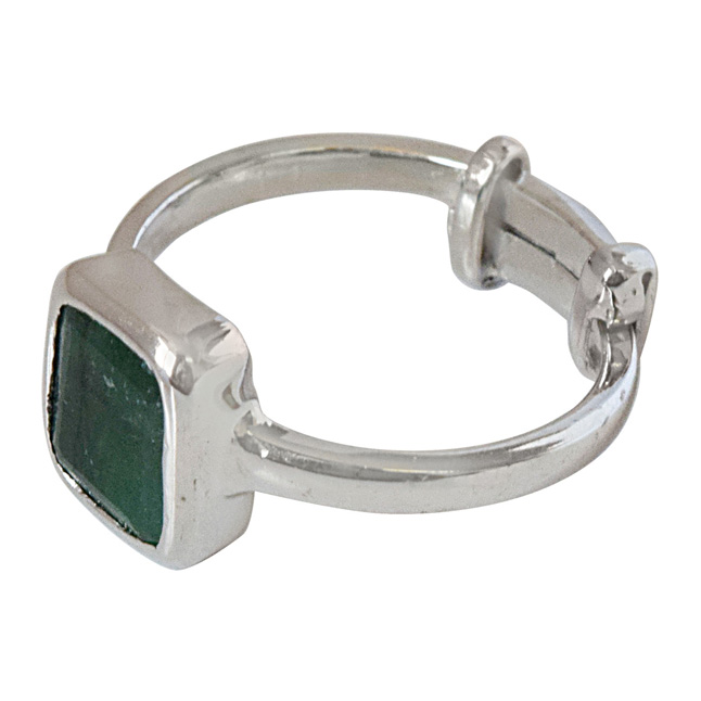 2.81cts Square Green Emerald and 925 Silver Adjustable Ring (GSR69)