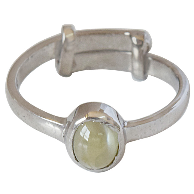 0.95 cts Round Cat's Eye and 925 Silver Adjustable Ring (GSR70)