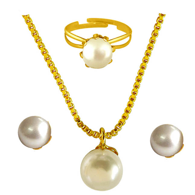 Real Round Pearl Pendant & 22 IN Chain, Real Pearl Stud Earrings & Ring Jewellery for Women H1532