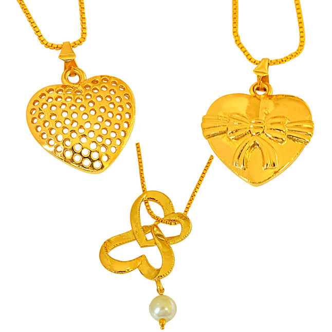 Set of 3 Shell Pearl and Gold Plated Heart Shaped Pendant for Women with 22 IN Chain (H1850)
