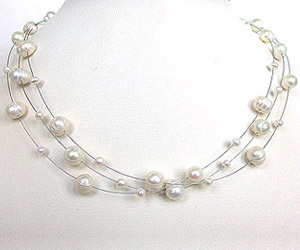 Jealousy - 3 Line Big & Small Freshwater Pearl Wire Style Necklace for Women (SN195)