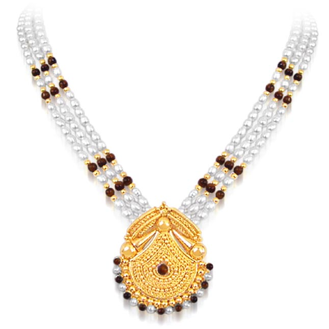 Marvel - Gold Plated Temple Design Pendant & 3 Line Freshwater Pearl & Tiger Eye Beads Necklace for Women (SNP12)