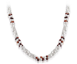 Muse - 3 Line Twisted Real Pearl & Tiger Eye Beads Necklace for Women (SN31)
