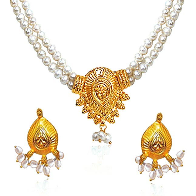 Nirvana - Two Line Real Freshwater Pearl & Gold Plated Necklace & Earring Set for Women (SP377)