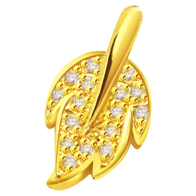 18k gold leaf diamond pendant