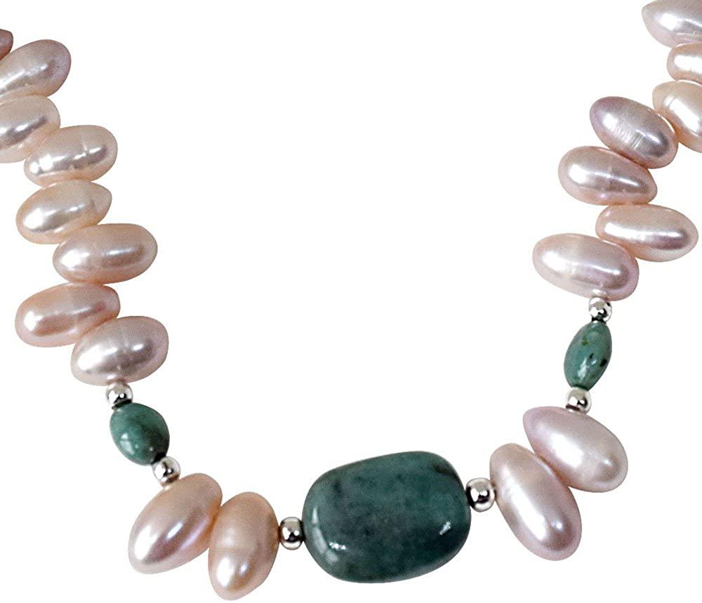Single Line Oval Emerald & Drop Shaped Purple Pearl Necklace (PR7)
