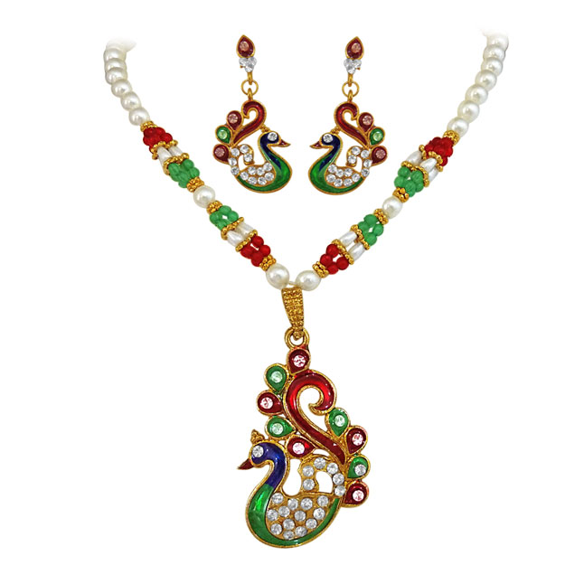 peacock fashion jewellery set