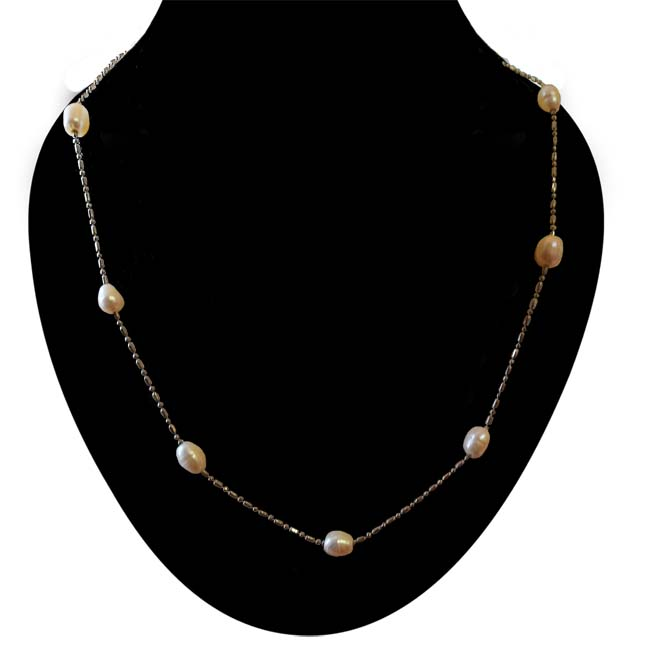 Pearl & Silver Plated Chain -PS101 -Pearl Necklaces