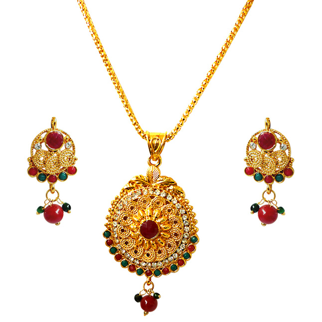 Ethnic Beauty -Pendants Necklace & Earrings Set