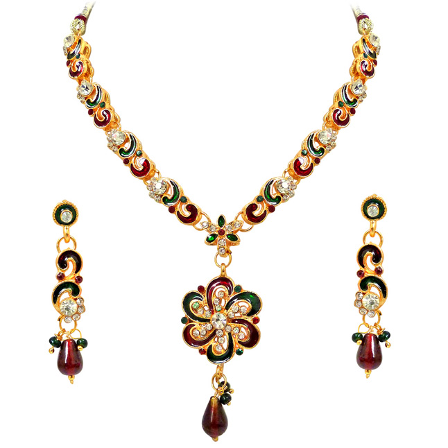 Maaya -Red & Green Enamelled with white kundan Polki Fashion Jewellery Set