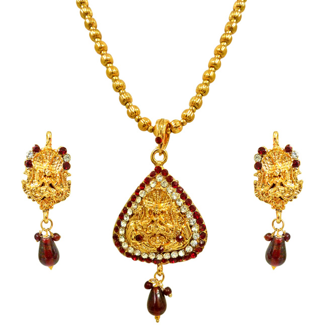 Shreeya -Red & White Kundan Polki Goddess Motif Fashion Jewellery Set