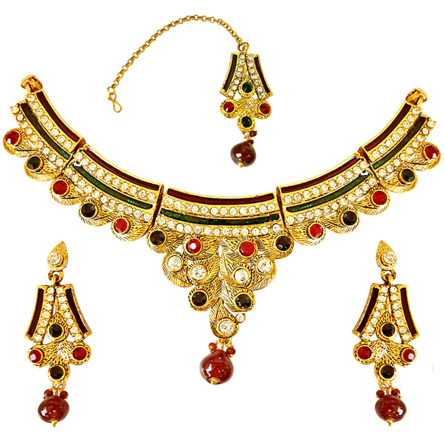 Geometrical Shaped Red, Green & White Coloured Stone & Gold Plated Necklace Earrings & Manga Tikka Set with Enamel for Women