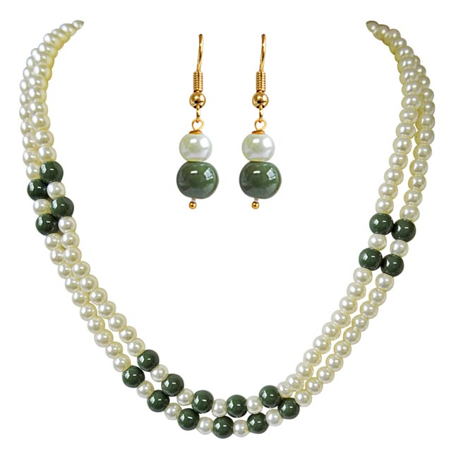 2 Line Green & White Shell Pearl Necklace Earring Set