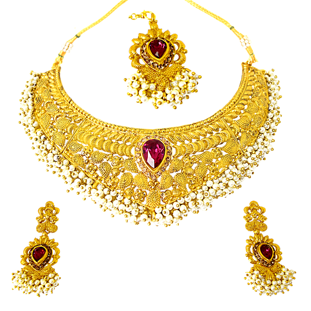 Ethnic Choker Style Gold Plated Designer Pink Coloured Stone Fashion Jewellery Set PS333