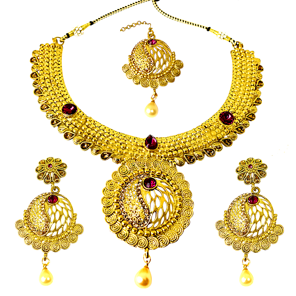 Ethnic Choker Style Gold Plated Designer Pink Coloured Stone Fashion Jewellery Set PS334
