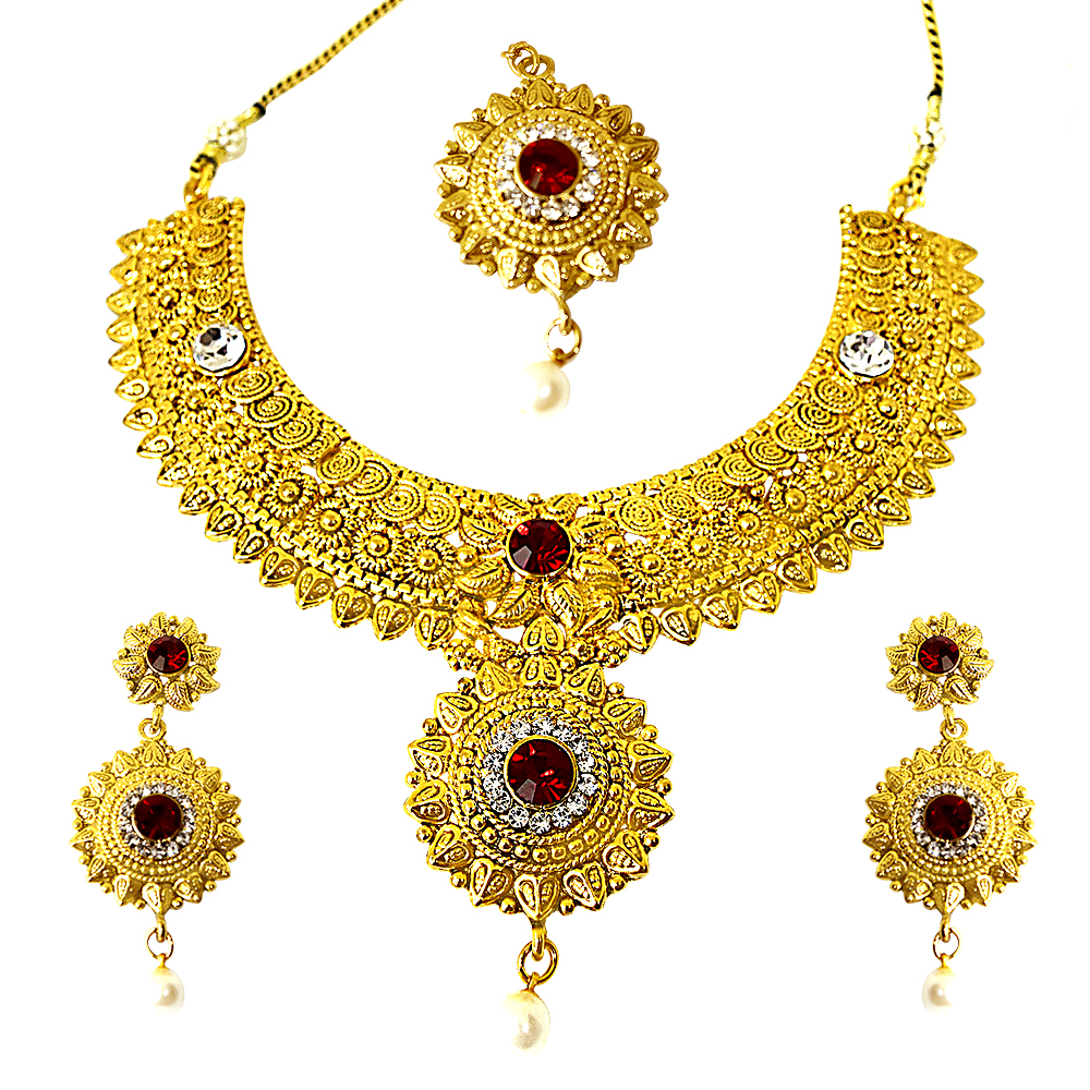 Ethnic Choker Style Gold Plated Designer Red Coloured Stone Fashion Jewellery Set PS335
