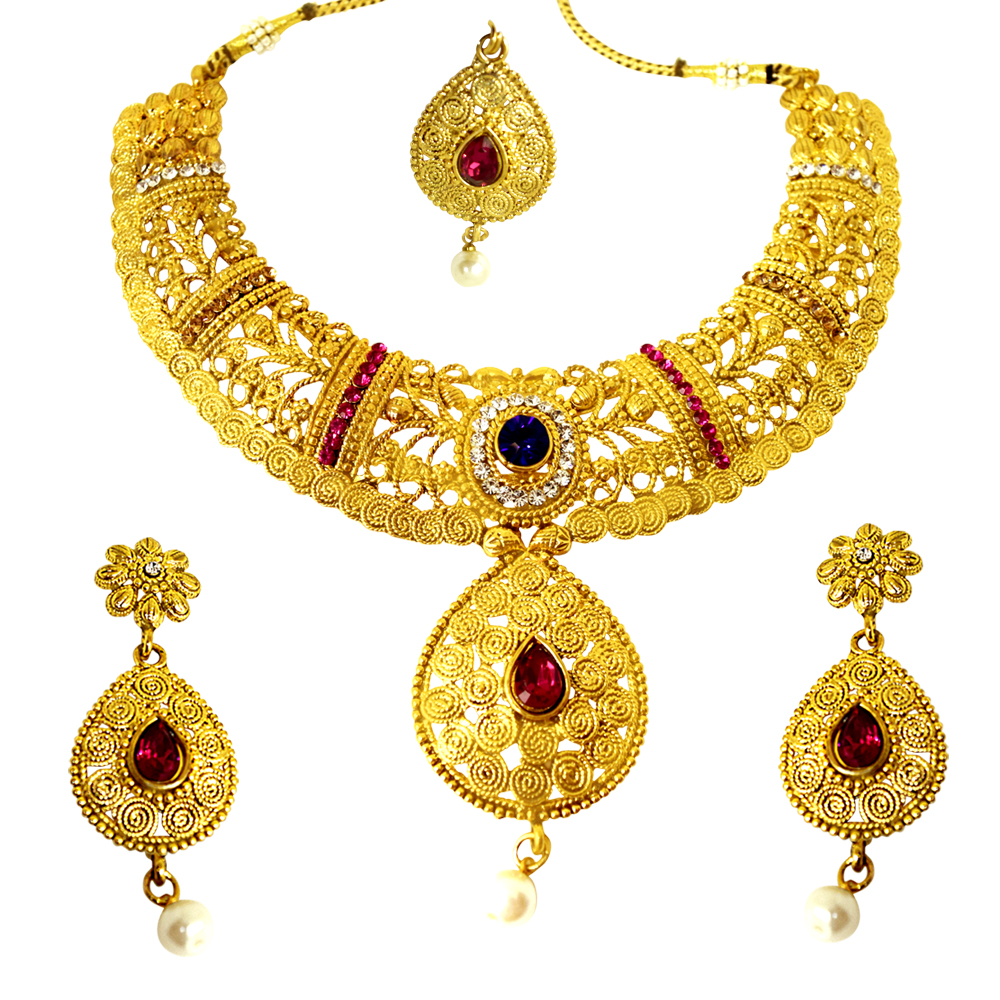 Ethnic Choker Style Gold Plated Designer Pink & Blue Coloured Stone Fashion Jewellery Set PS336