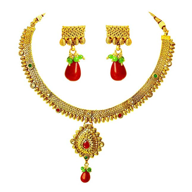 Traditional Necklace & Earring Fashion Jewellery Set for Women PS349