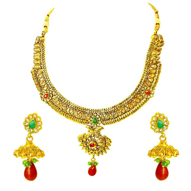 Traditional Necklace & Earring Fashion Jewellery Set for Women PS355
