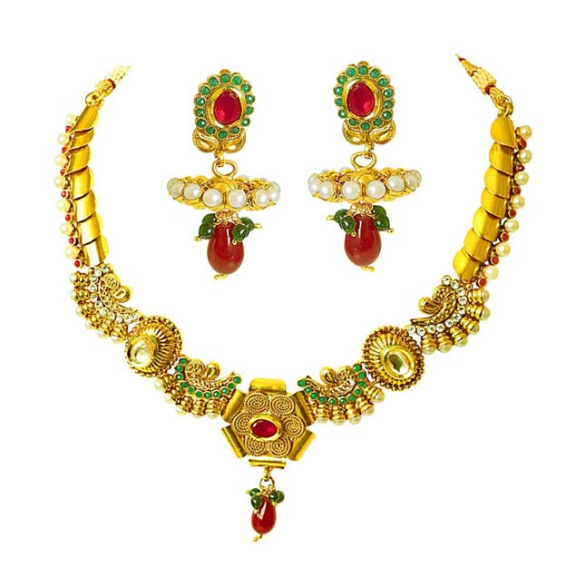 Traditional Necklace & Earring Fashion Jewellery Set for Women PS361