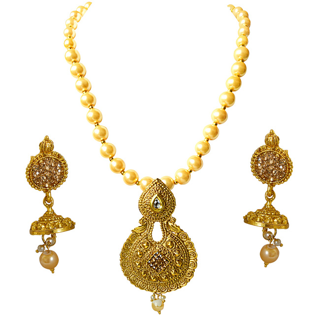 Traditional Shell Pearl Necklace & Earring Fashion Jewellery Set for Women PS384