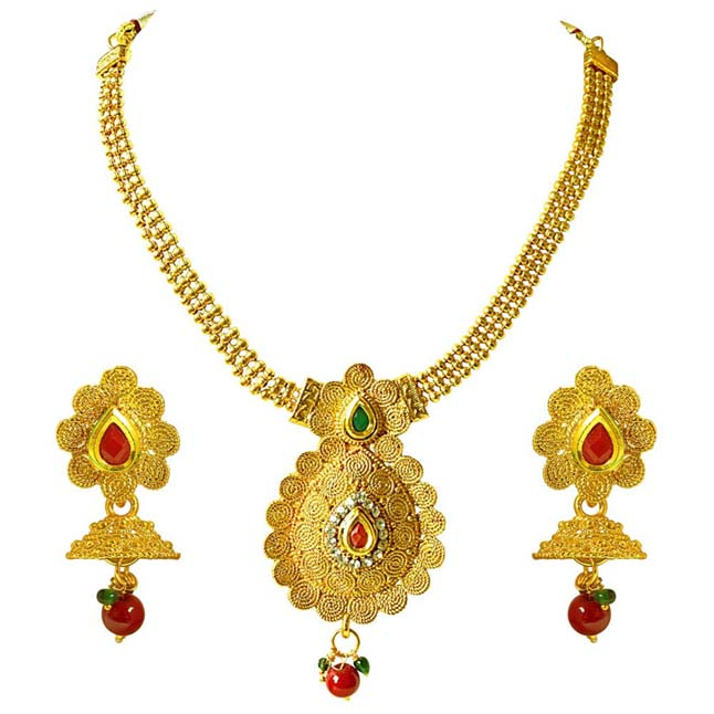 Traditional Necklace & Earring Fashion Jewellery Set for Women PS393