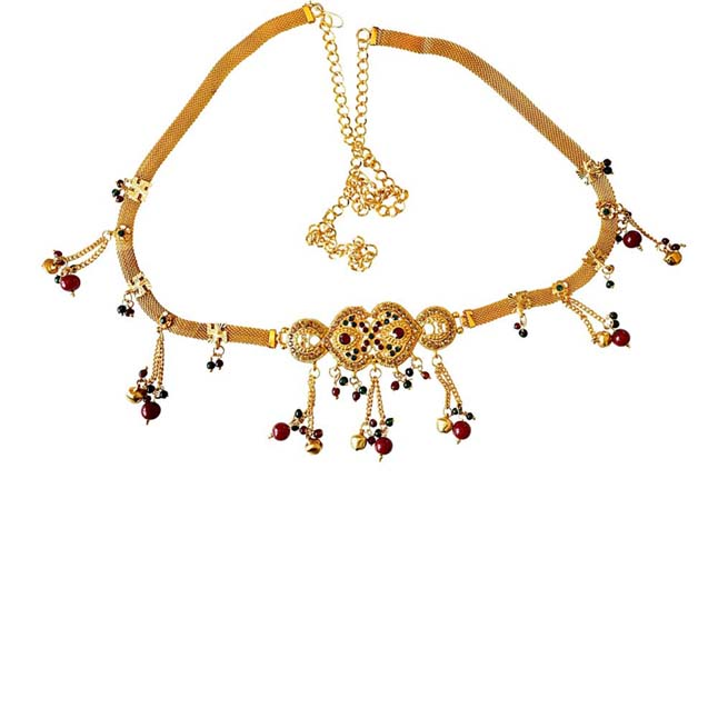 Traditional Multi Colour Gold plated Kamarpatta Waist Chain/Belly Chain for Women PS400