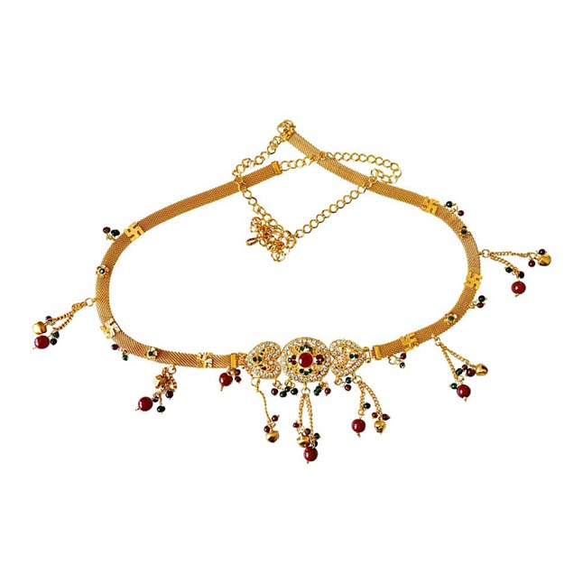 Traditional Multi Colour Gold plated Kamarpatta Waist Chain/Belly Chain for Women PS403