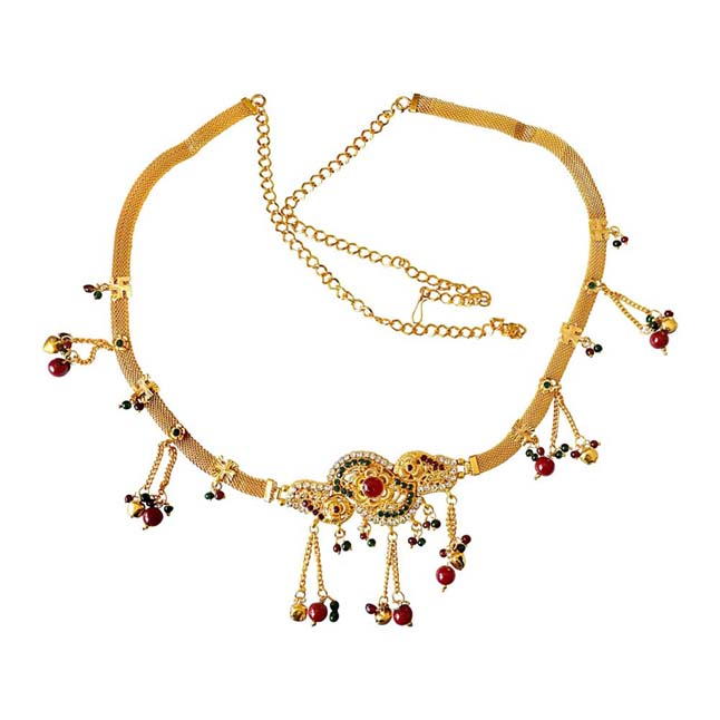 Traditional Multi Colour Gold plated Kamarpatta Waist Chain/Belly Chain for Women PS404