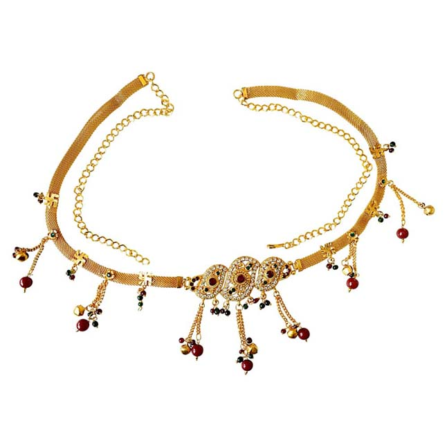 Traditional Multi Colour Gold plated Kamarpatta Waist Chain/Belly Chain for Women PS405