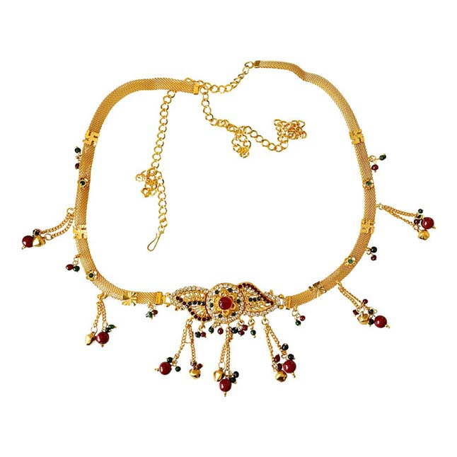 Traditional Multi Colour Gold plated Kamarpatta Waist Chain/Belly Chain for Women PS406