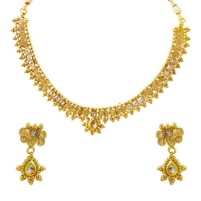 Traditional Drop Shaped White Stone and Gold Plated Necklace Earring Fashion Jewellery Set (PS426)