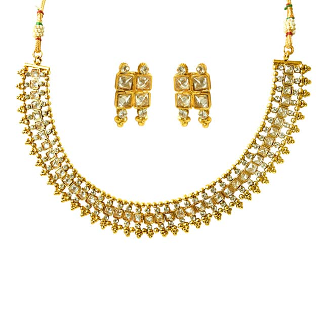 Geometrical Shaped White Stone and Gold Plated Necklace Earring Fashion Jewellery Set (PS427)