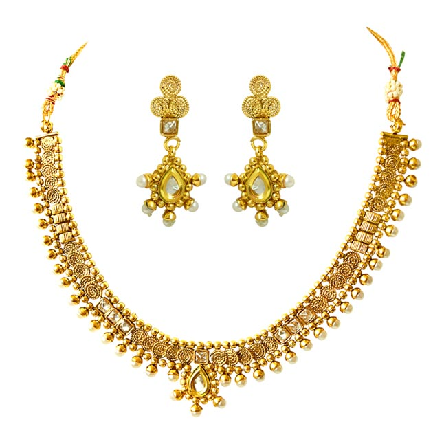 thnic White Stone and Gold Plated Necklace Earring Fashion Jewellery Set for Women (PS428)